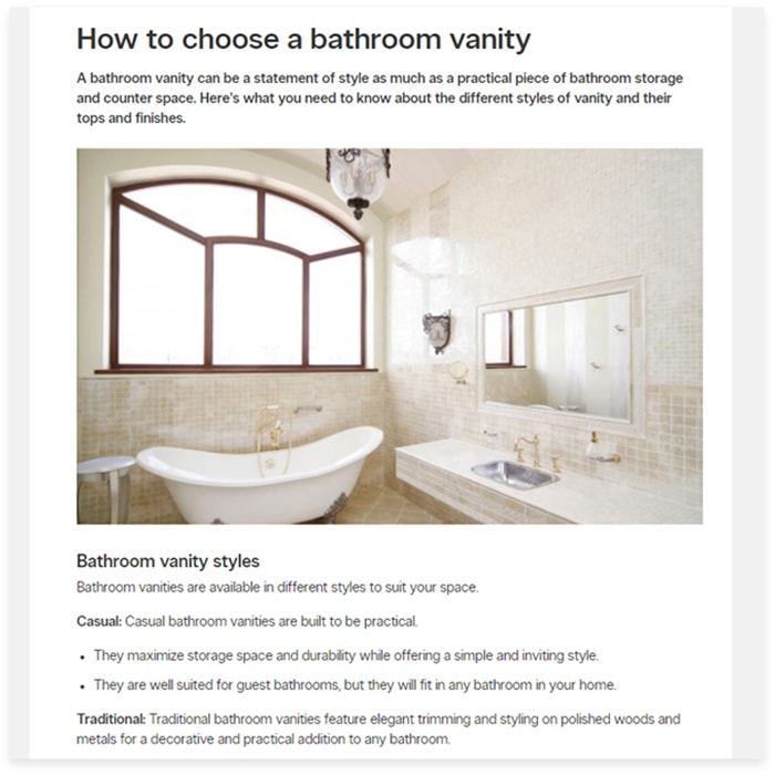 Buying tips for bathroom vanity