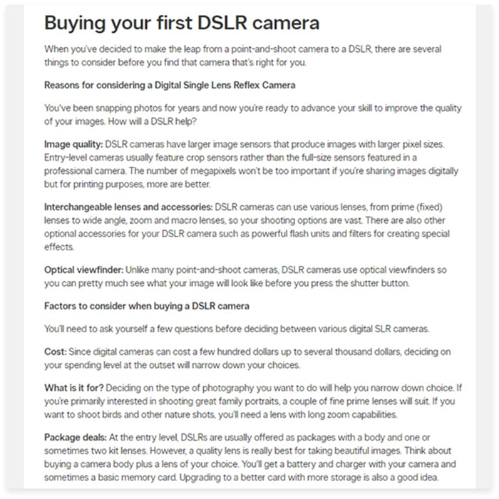 Buying guide for DSLR camera