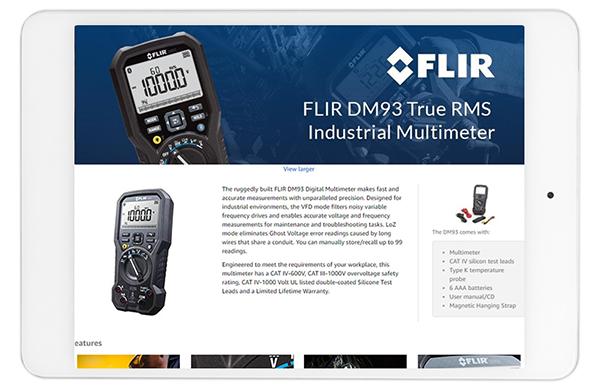 manufacturer product description displayed on tablet