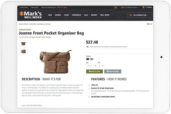 product description for online retailer displayed on tablet