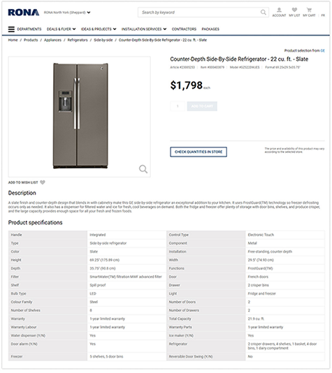 home appliance product description
