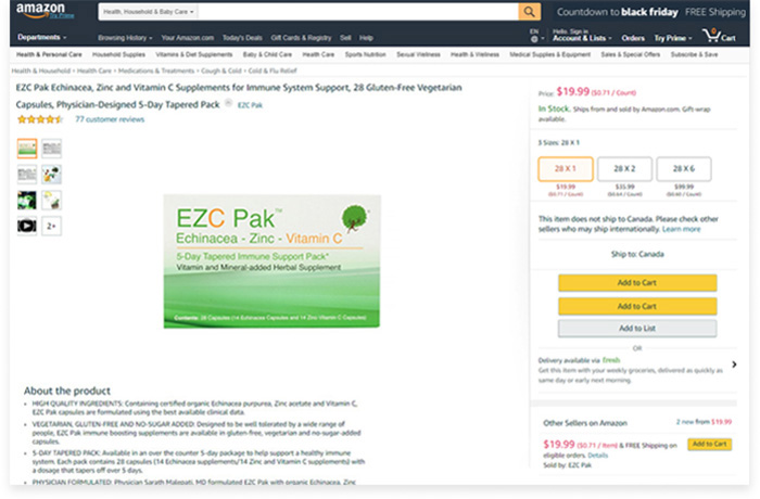 Amazon Basic Listing for Natural Supplement