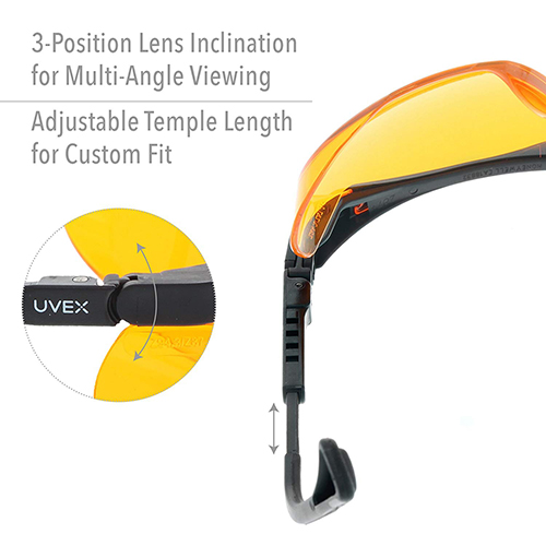 Amazon Product Photography of personal protective equipment glasses with Text