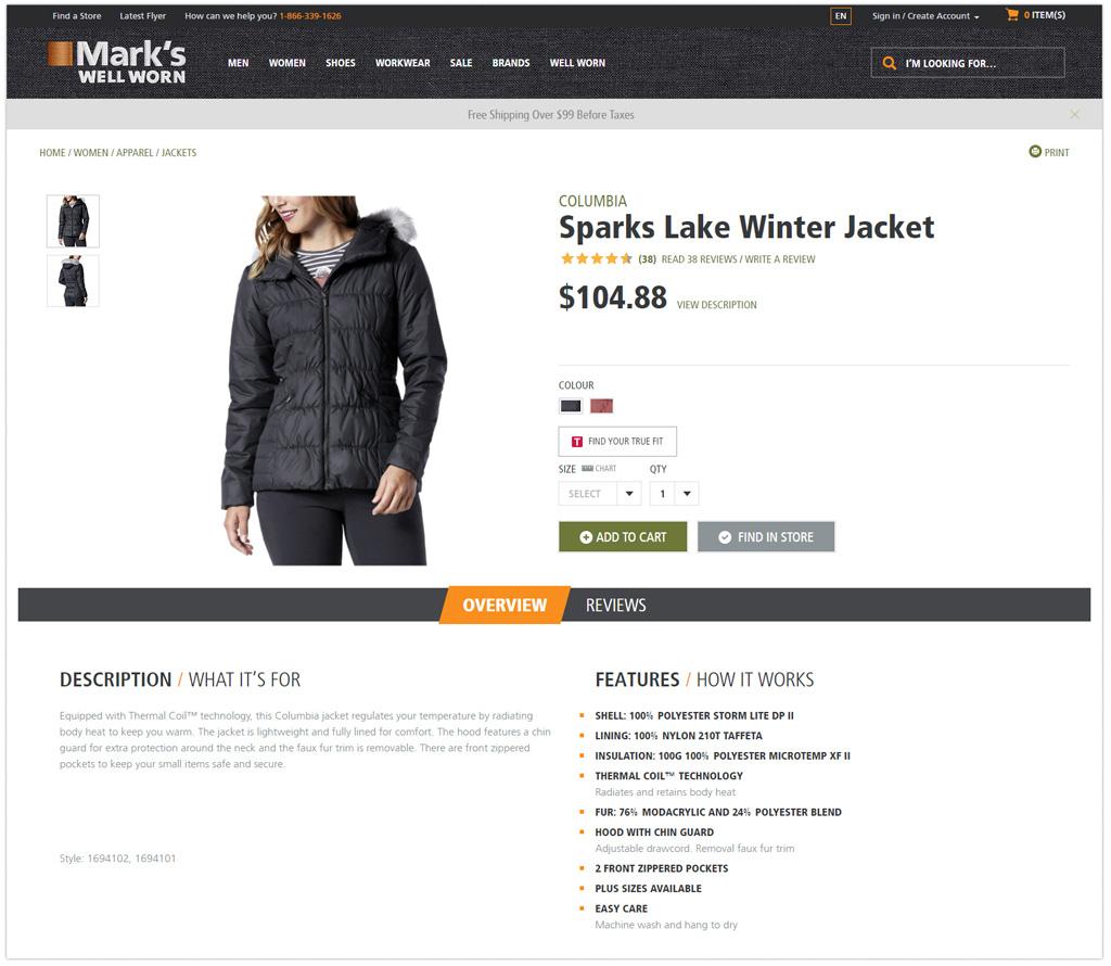 marks product description