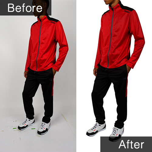 Before and after sample of men's appareal on model