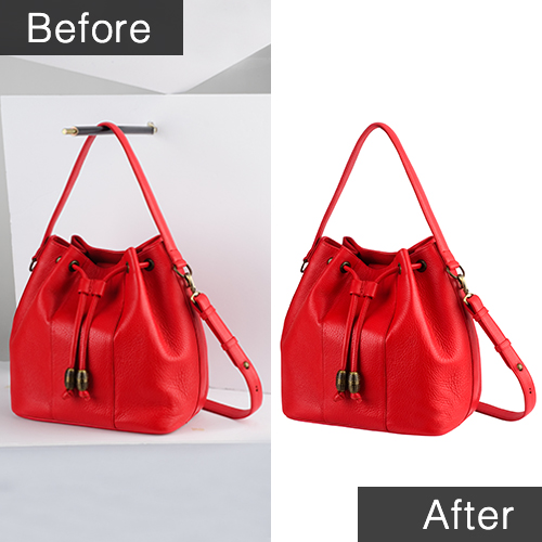 Before and after sample of clipping mask of women's purse