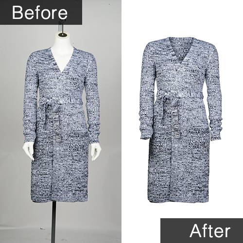 Before and after sample of clipping mask of women's dress