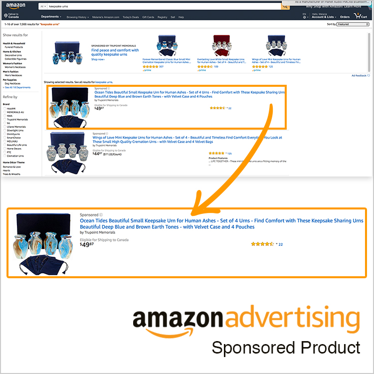 An example of an Amazon Sponsored Product PPC ad by geekspeak Commerce