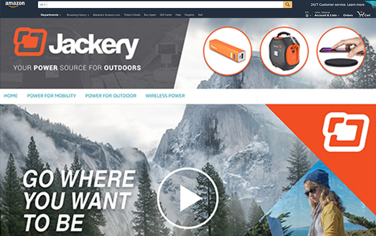 An example of an Amazon Storefront for Jackery created by geek speak commerce