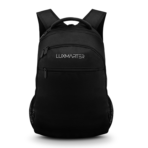 crisp product photography of a black backpack on a white background