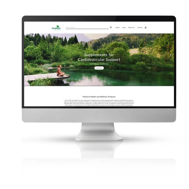 Futurebiotics website on large Mac monitor