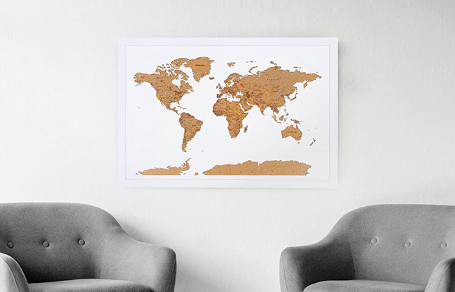 Lifestyle image of cork travel map with pins