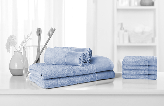 Lifestyle image of towels in a bathroom