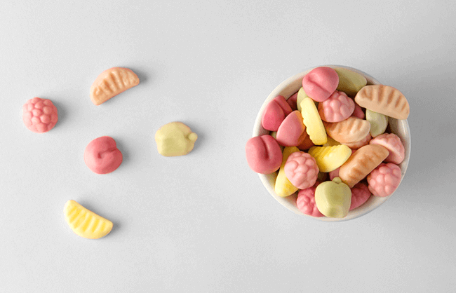 Lifestyle image of candy in a bowl shot from overhead