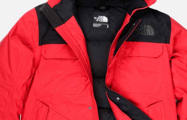ecommerce product photography for North Face apparel