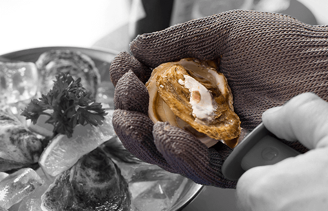 Lifestyle image of hand shucking oysters