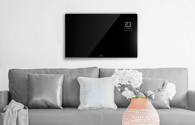 Lifestyle image of fireplace mounted on wall