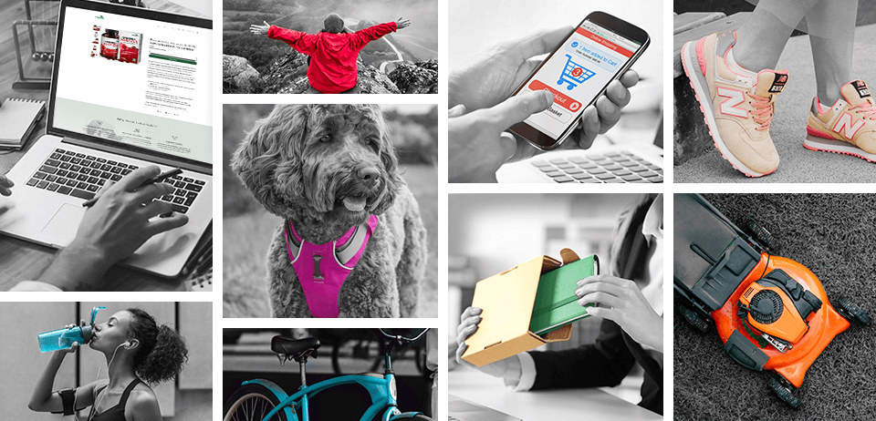 Grid of images representing direct to consumer products like pet harnesses, sports shoes, water bottles, law mowers and more