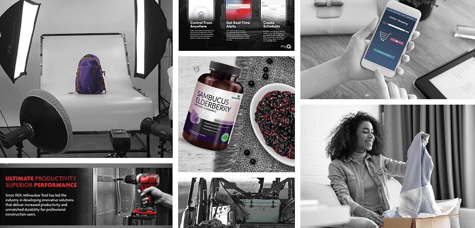 Grid of images representing manufacturer products such as tools, supplements, etc.