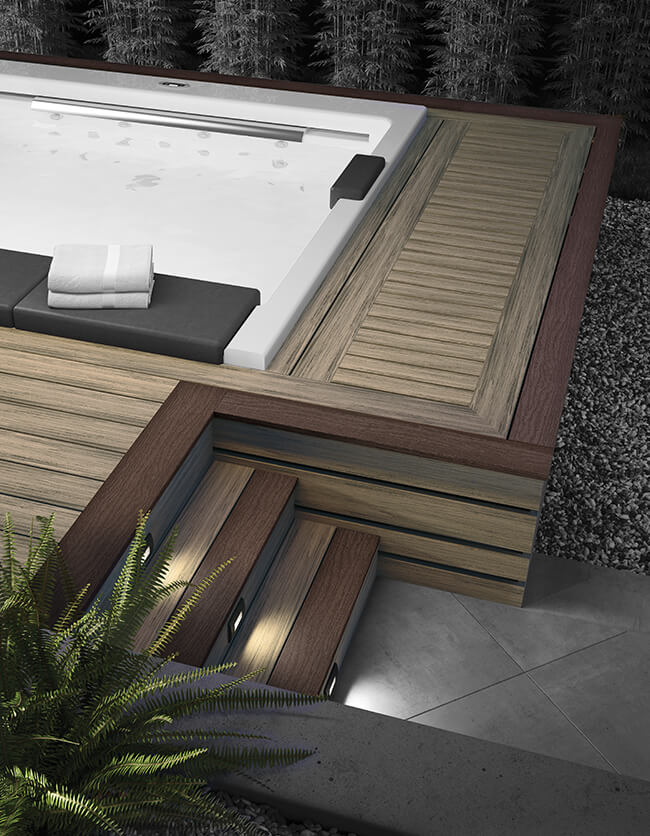 Deck surround for hot tub