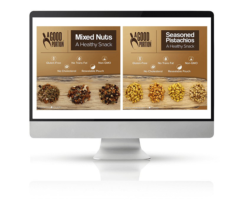 Infographic for a grocery item outlining its ingredients displayed on a Mac monitor