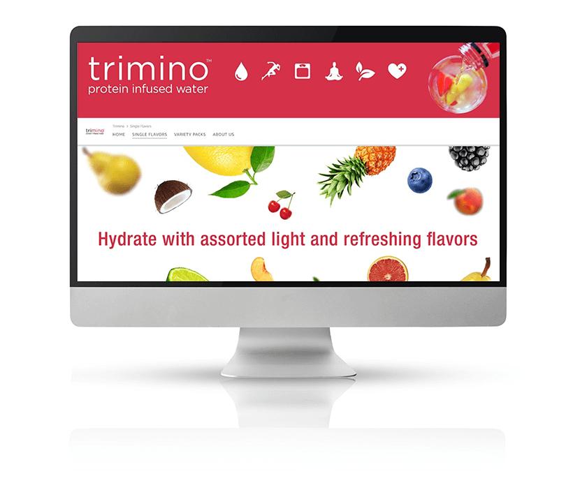 Trimino Amazon Store displayed on a large Mac monitor