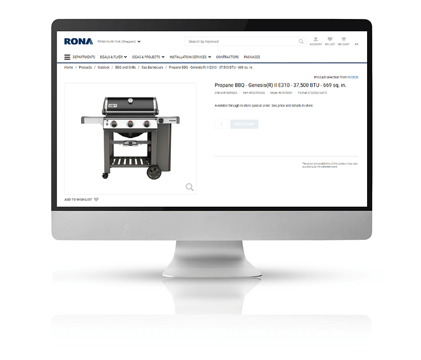 Barbecue ecommerce product listing for RONA displayed on a large Mac monitor