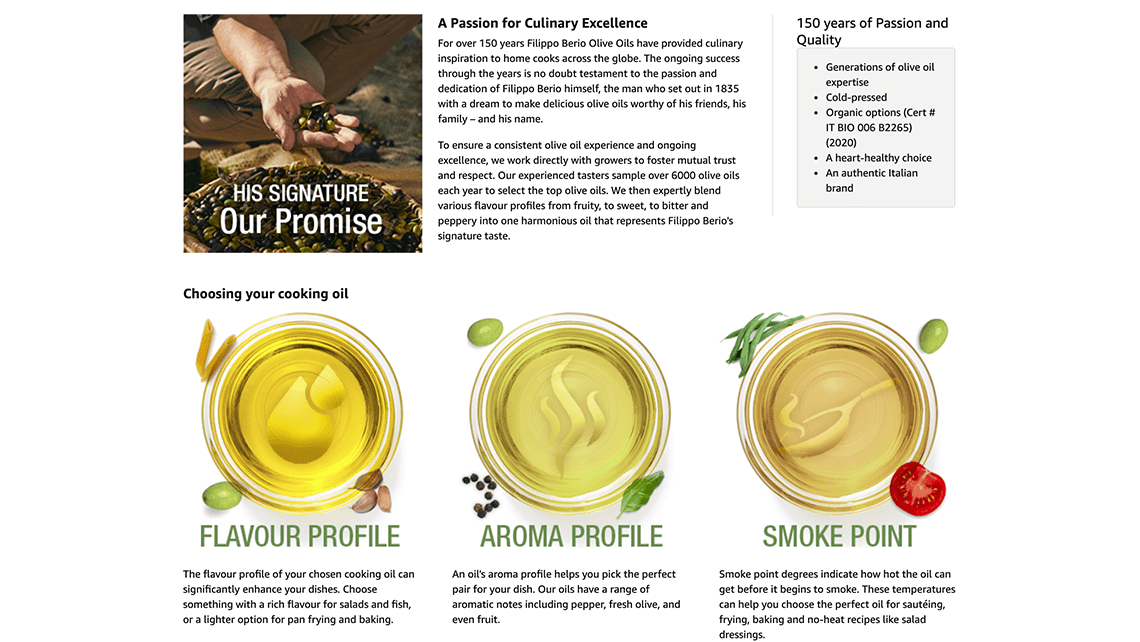 Olive oil Amazon A+ page for Indigo Concord National