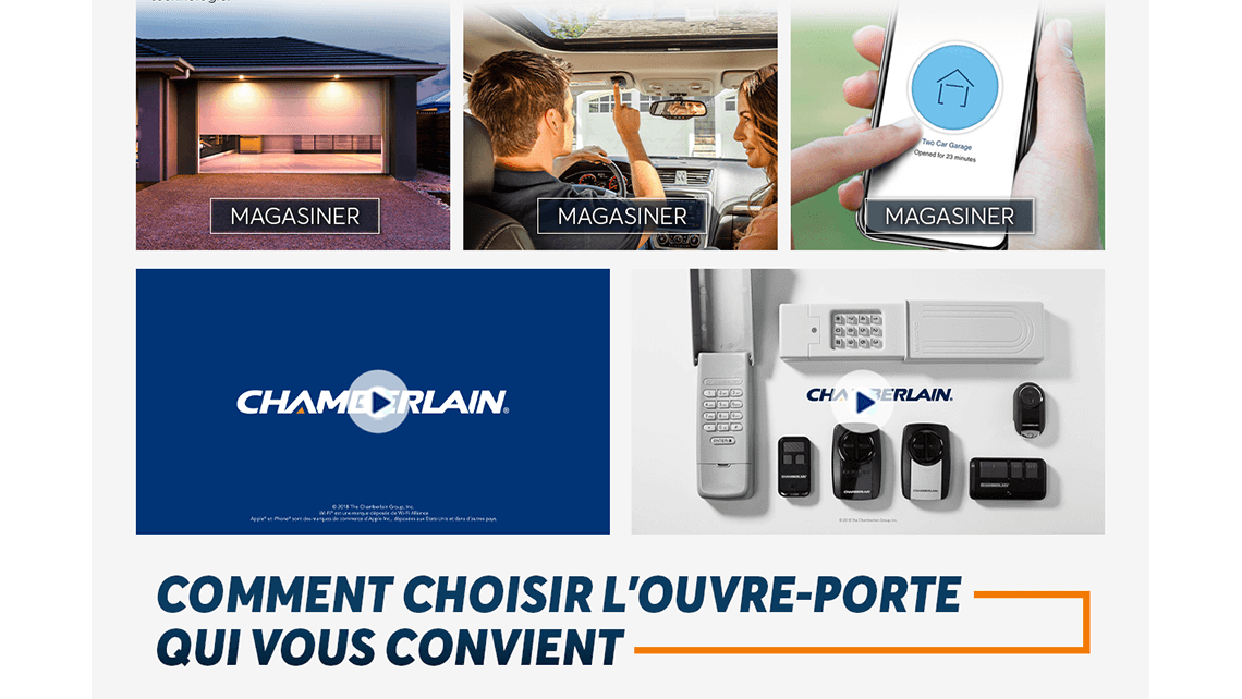 Chamberlain brand page in French for Home Hardware