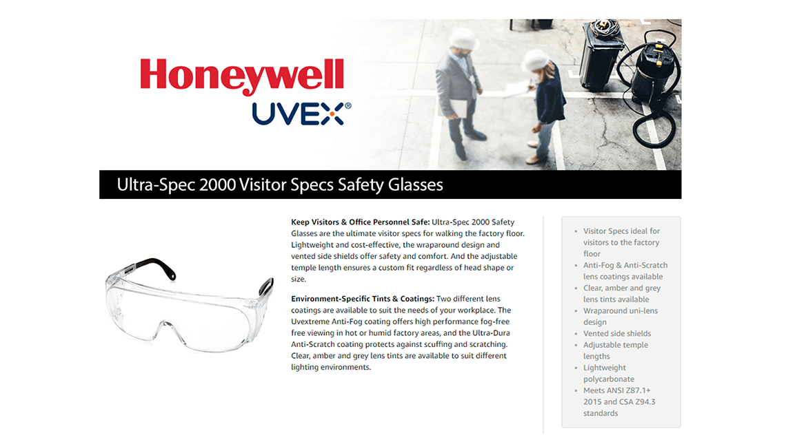 UVEX Amazon A+ Page for Honeywell