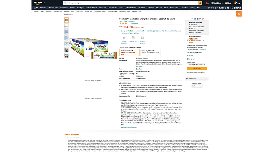 SunRype Amazon listing for Lassonde