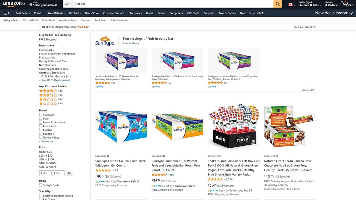 SunRype Amazon PPC advertising for Lassonde