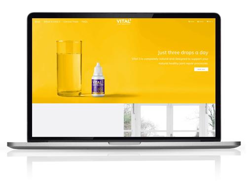 Vital 3 website on macbook screen