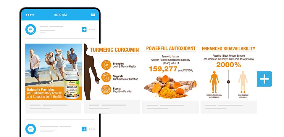 Tumeric supplement carousel ad