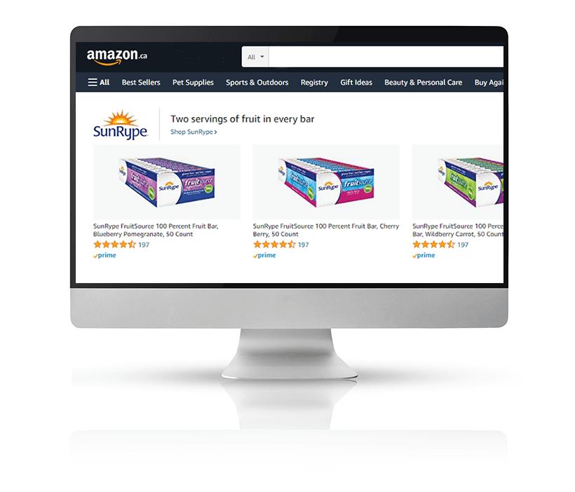 SunRype Amazon ads on large Mac monitor