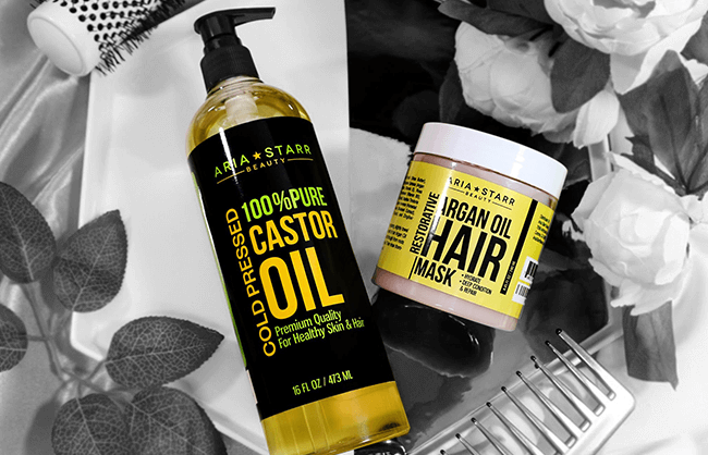 Lifestyle image of hair care products on a makeup vanity