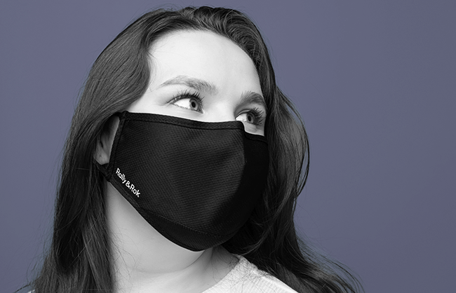 Lifestyle image of a woman wearing a face mask