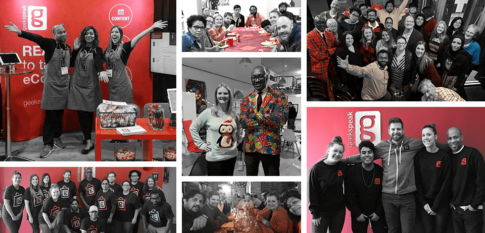 Grid of various image of geekspeak employees at events and celebrations