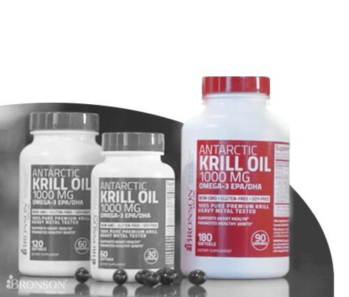 Image of krill oil supplement bottles