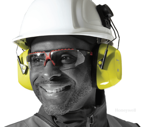 Man wearing hard hat and eye protection (PPE)
