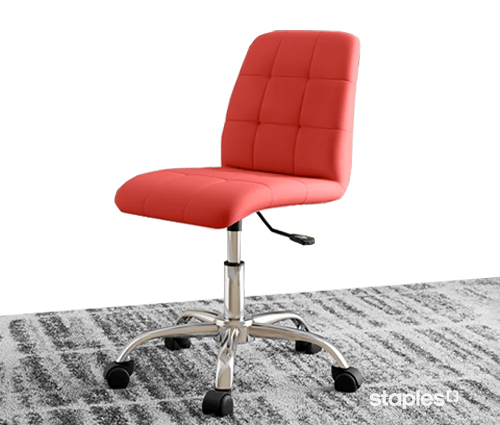 Red office chair on area rug