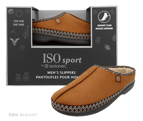 Clean ecommerce image of Isotoner box and slipper