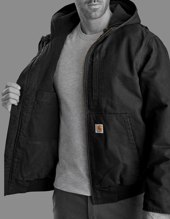 Model wearing a Carhartt jacket sold by Mark's